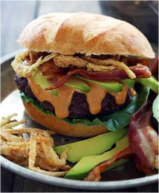 Western Bacon Burgers with BBQ Mayo & Onion Strings